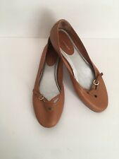 Rockport Flats Womens 7M Brown Carmel Buckle Leather Round Toe Ballet