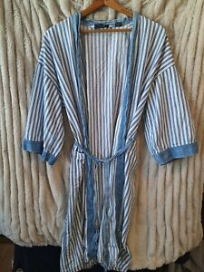 Vintage Christian Dior Monsieur Cotton Denim Blue White stripe Robe OS