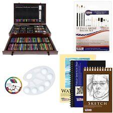 US Art Supply 142 Piece Mega Art Creativity Drawing Set in Wood Case with BON...