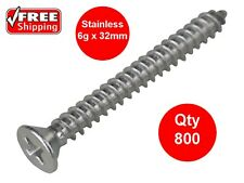 800 X SELF TAPPER WOOD SCREWS STAINLESS STEEL 3.5 x 32mm 304ss 6g COUNTERSUNK