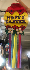 New listing Happy Easter Egg, Flowers, and Streamers Appliquéd Windsock