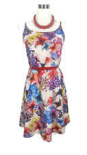 LADAKH Dress - Floral Watercolour Print Beige Pink Blue Purple Pink Mini Boho M