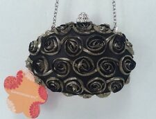 NWT $50 EXPRESSIONS NYC ROSE PEDAL CLUTCH Hard Case Purse Evening  Bag w/ Chain