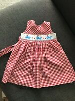 Carriage Boutique Girls Smocked Whales Striped Dress Sz 18M Sleeveless