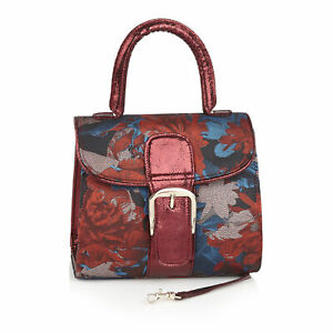 Ruby Shoo Riva Russet Fabric Top Handle Bag (Matches Juno Heels) Red Handbag