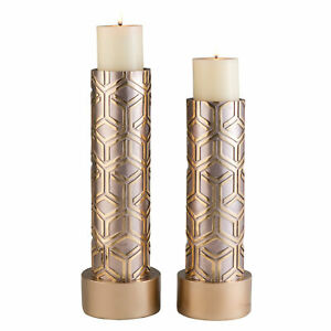 "14"" and 16"" Tall Polyresin Candleholder, Golden finish (Set of 2)"