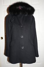 George Simonton Couture Genuine Fox Fur Hood Lamb Wool Blend Duffle Coat 10 $959