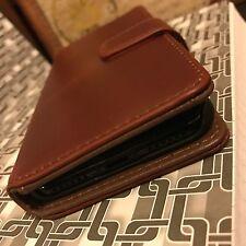 Funda tipo Billetera De Cuero Auténtico Coñac libro 9 H Protector de Pantalla de Vidrio Inc iPhone X