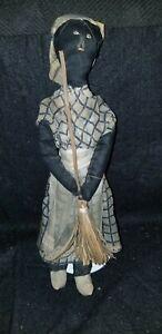 "ANTIQUE 19th C BLACK AMERICANA FOLK ART CLOTH DOLL 10 1/4"" PRIMITIVE"