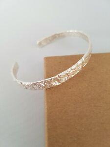 Ladies 925 Sterling Silver Hammered Bark Effect Bangle UK Handmade