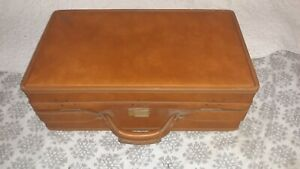 "Vintage Hartmann Brown Leather Luggage Suitcase, 21""x12""x7.5"""