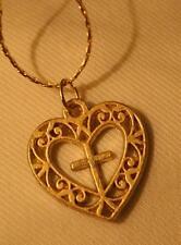 Dainty Openwork Swirled Cross Centered Heart Goldtone Pendant Necklace