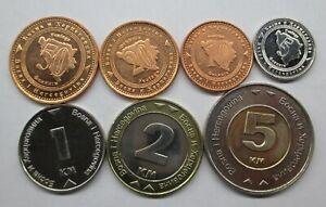BOSNIA AND HERZEGOVINA SET 7 COINS 1998 - 2005 UNC