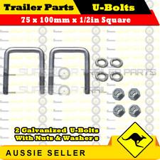 2 x U-Bolts 75mm x 100mm Square with Nuts Galvanized Trailer Box Boat Caravan