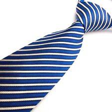 NEXT 100% Pure Silk Blue White Striped Mens Tie