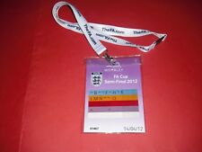 2012 FA CUP SEMI FINAL LIVERPOOL V EVERTON OFFICIAL MEDIA PASS TICKET + LANYARD