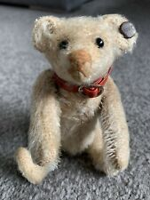 "RARE ANTIQUE Circa 1910 STEIFF MINIATURE WHITE RATTLE TEDDY BEAR 5 "" FF Button"