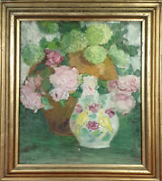 STILL LIFE WITH FLOWERS. OIL ON TABLE. SIGNED C. FIBLA. TWENTIETH CENTURY.
