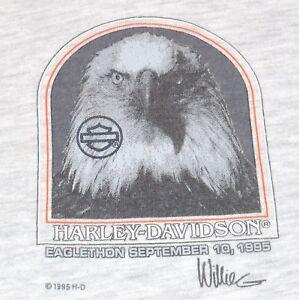 Harley Davidson Men L Gray T-Shirt Eagle Willie G Eaglethon 1995 USA Vintage