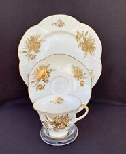 Scarce Shelley FOOTED DAINTY With Gold FLOWERS OF GOLD Tea Cup Saucer Plate TRIO