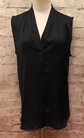 HARVE BENARD Womens Blouse Tunic Top Dark Blue Sleeveless V Neck Size Medium NEW