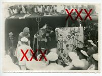 KREUZER KARLSRUHE - orig. Foto, 12,7x17,8 cm, Äquatortaufe,Linientaufe,Juli 1932