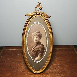 """Antique Tin Brass Oval Leaning Picture Frame w/ Early Photo 6"""" x 3"""""""