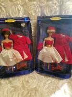 2 Barbies,1962 Fashion and doll Reproduction Silken Flame Brunette & Caucasian