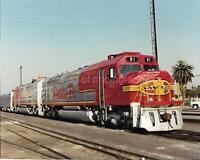 LOCOMOTIVE Train FOUND PHOTO Color SANTA FE RAILROAD Original VINTAGE 03 9 X