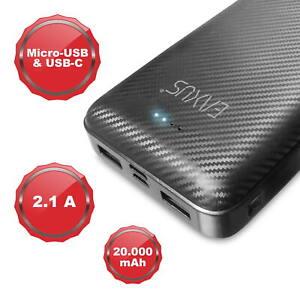 EAXUS® Tragbare Powerbank 2USB Externer Zusatzakku 20000mAh Batterie Typ-C Handy