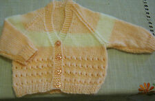"""Hand Knitted Baby Cardi -  Peach & Cream, 16"""" chest, V Neck  **NEW**"""