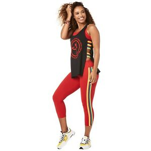 Zumba Fitness Made With Love Open Side Tank Rainbow Bold Black Women's Sz XS