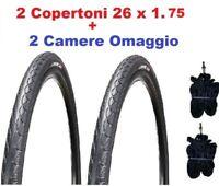 N°2 Copertone Pneumatico 26 x1.75 NERO Bici MTB IBRIDA + 2 Camere d'aria OMAGGIO