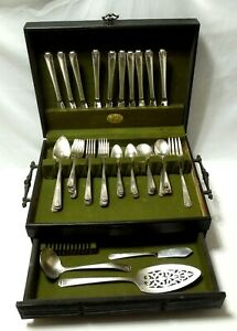 Set of 59 Prestige Vintage BORDEAUX Oneida Silver Plate Silverware and Chest