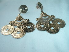 VINTAGE BIG GOLDEN COIN DANGLE PIERCED EARRINGS IN GIFT BOX