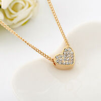 New Womens 18K Gold Filled Simple Cute Heart SWAROVSKI Crystal Pendant Necklace