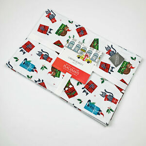 Christmas Cats on Presents Easy Care Placemats Set of 4 Cynthia Rowley New York