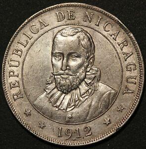 1912 Nicaragua Un Cordoba Silver Coin - KM# 16 - RARE
