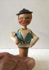 Vtg Man Tips Head W/ Glasses Carved Painted Wood Mechanical Wine Cork Stopper