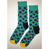 NWT Lady Bug Dress Socks Novelty Men 8-12 Blue Fun Sockfly
