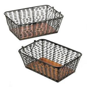 Set of 2 Woven Iron Storage Baskets w/ Pine Wood Base & Handles - Jackson Mtn