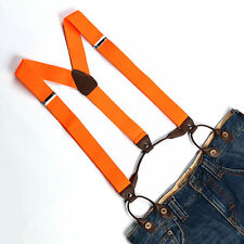 Men's Solid Orange Adjustable Suspenders Braces Faux Leather 6 Button Hole BD709