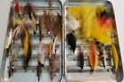 Perrine sterling quality box with approx 30 vintage hand tied flies Salmon/Trout