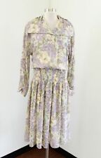 Vtg Leslie Fay Pale Green Floral Smocked Waist Shirt Dress Size 10 Modest Tea