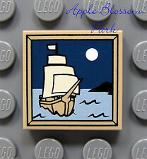 NEW Lego Pirate Ship 2x2 Decorated Dark Tan TILE Painting w/Boat & Moon 4193