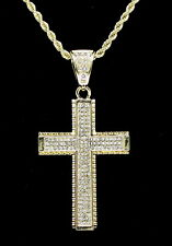 """Iced Out Cross Pendant 14k Gold Plated Cz 24"""" Rope Chain Hip Hop Necklace"""