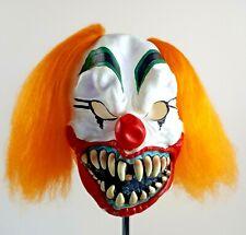 Halloween Creepy Scary Clown Mask Orange Hair Big Teeth Cosplay Costume Seasons