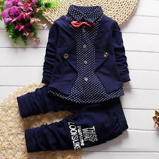 2 pzas. Bebé Adulto Para Niños Camisas+Pantalones Largos Ropa Trajes Gentleman