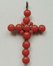 Antique CORAL CROSS PENDANT Victorian Salmon Coral