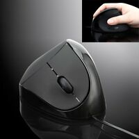 Black Wired Mouse 1200DPI Ergonomic Vertical Mice Optical Mouse For Laptop PC